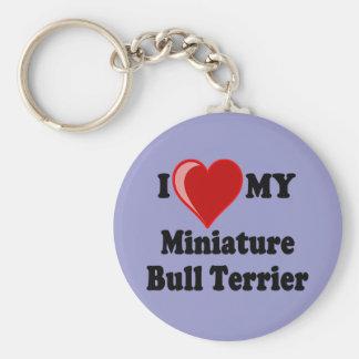 Porte-clés J'aime (coeur) mon chien miniature de bull-terrier