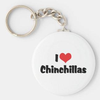 Porte-clés J'aime des chinchillas de coeur