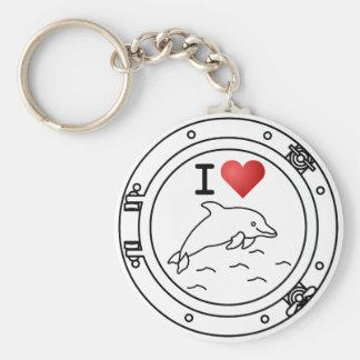 Porte-clés J'aime des dauphins