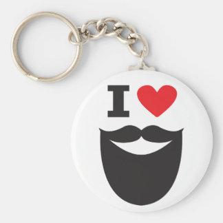 Porte-clés J'aime la barbe - rouge