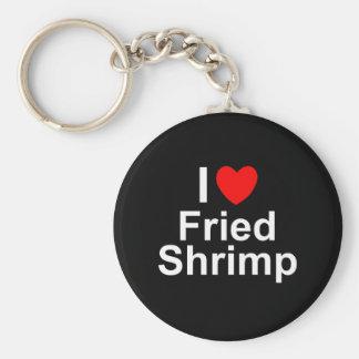 Porte-clés J'aime la crevette frite par coeur