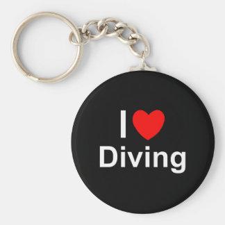 Porte-clés J'aime la plongée de coeur