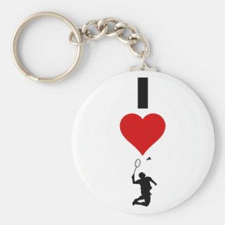 Porte-clés J'aime le badminton (vertical)