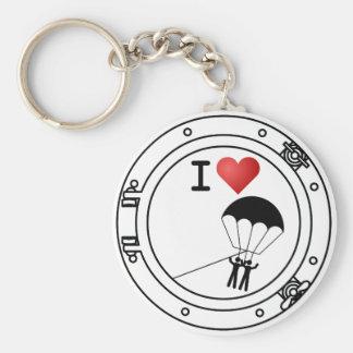 Porte-clés J'aime le parachute ascensionnel