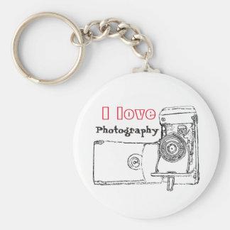 Porte-clés J'aime le rétro appareil-photo de photographie