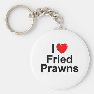 Porte-clés J'aime les crevettes roses frites par coeur