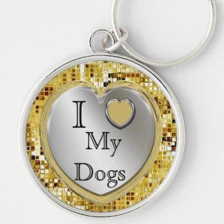 Porte-clés J'aime mes chiens ou ? Porte - clé de coeur