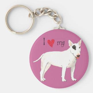Porte-clés J'aime mon bull-terrier