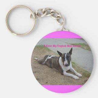 Porte-clés J'aime mon bull-terrier anglais