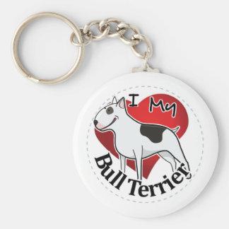 Porte-clés J'aime mon bull-terrier drôle et mignon adorable