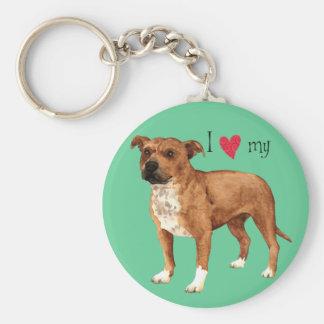 Porte-clés J'aime mon bull-terrier du Staffordshire