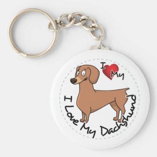 Porte-clés J'aime mon chien de basset allemand