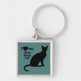 Porte-clés J'aime mon petit chat noir
