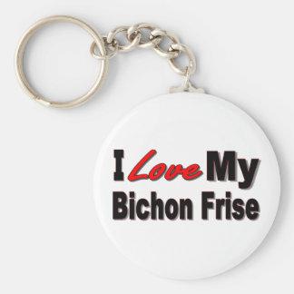 Porte-clés J'aime mon porte - clé de Bichon Frise