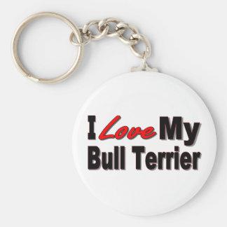 Porte-clés J'aime mon porte - clé de bull-terrier