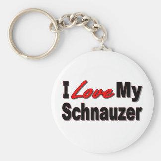 Porte-clés J'aime mon porte - clé de chien de Schnauzer