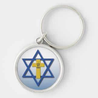 Porte-clés Je me tiens avec le chrétien de l'Israël et juif