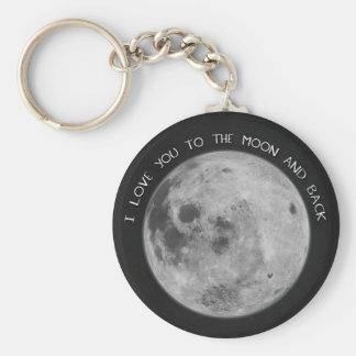 Porte-clés Je t'aime au ciel étoilé de lune et de dos