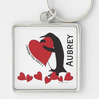 Porte-clés Je t'aime plus ! - Coeurs rouges de pingouin