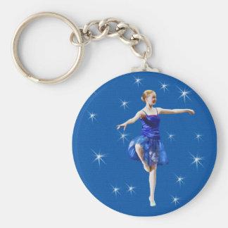 Porte-clés Jeune ballerine dans personnalisable bleu
