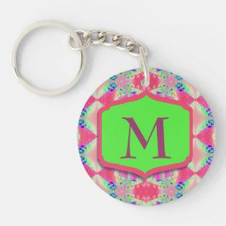 Porte-clés Joli motif de vert de rose de monogramme