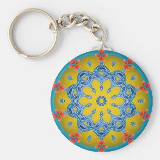 Porte-clés Kaléidoscope bleu et jaune
