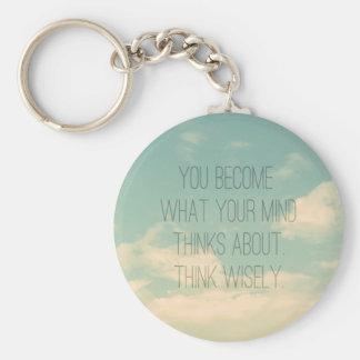 Porte-clés La citation de pensée d'esprit positif opacifie le