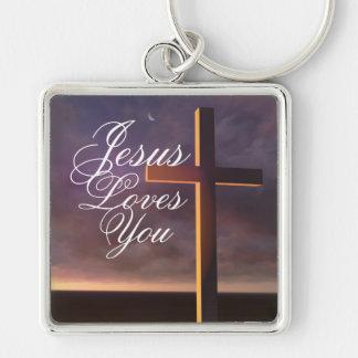 """Porte-clés La croix avec """"Jésus vous aime"""" porte - clé"""