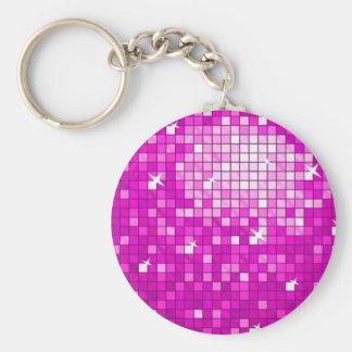 Porte-clés La disco couvre de tuiles le porte - clé rose rond