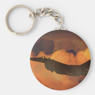 Porte-clés La lune de ciel nocturne de combattant d'avion