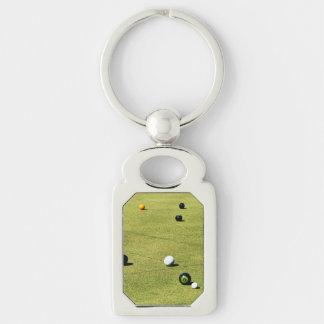 Porte-clés La pelouse roule action, porte - clé argenté de