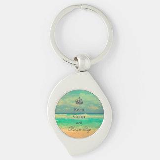 """Porte-clés la plage vintage """"gardent le calme et rêvent la"""