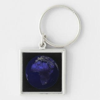 Porte-clés La pleine terre la nuit montrant l'Afrique et