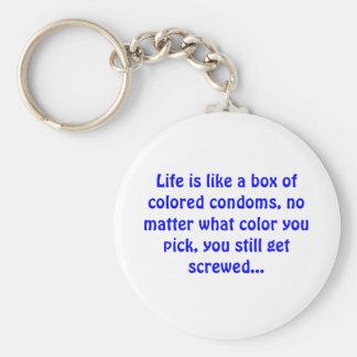 Porte-clés La vie est comme une boîte de préservatifs colorés