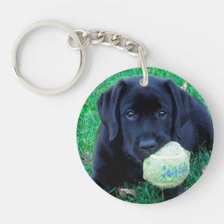 Porte-clés Labrador noir - boule de jeu