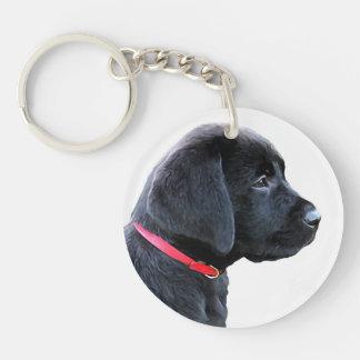 Porte-clés Labrador noir - habillé en rouge