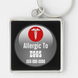 Porte-clés L'allergie d'oeufs avertissant | personnalisent