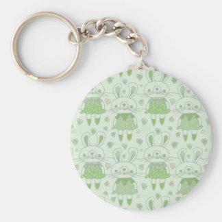 Porte-clés Lapins heureux en vert