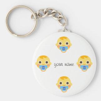 """Porte-clés Le bébé Emoji font face et '' votre nom ici """""""