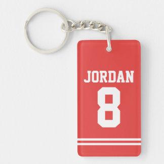 Porte-clés Le football rouge Jersey avec le nombre