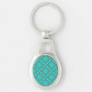Porte-clés Le gris d'Aqua de motif d'amusement entoure l'art