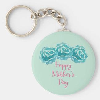 Porte-clés Le jour de 3 mères heureux de roses turquoises