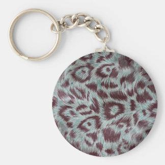 Porte-clés Le léopard velu exotique repère l'aubergine bleue
