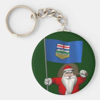 Porte-clés Le père noël avec le drapeau d'Alberta CDN