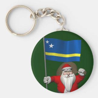 Porte-clés Le père noël avec le drapeau de Curaçao
