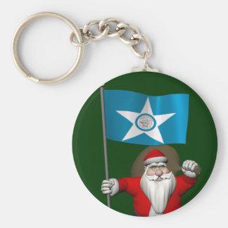 Porte-clés Le père noël avec le drapeau de Houston