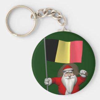 Porte-clés Le père noël avec le drapeau de la Belgique