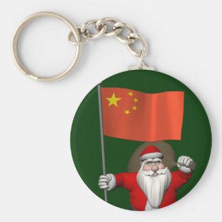 Porte-clés Le père noël avec le drapeau de la Chine