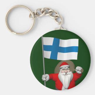 Porte-clés Le père noël avec le drapeau de la Finlande