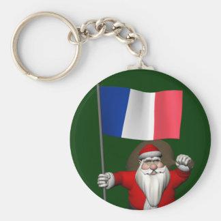 Porte-clés Le père noël avec le drapeau de la France